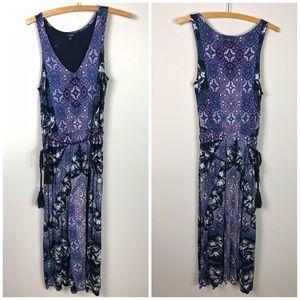 Lucky Brand Paisley Jersey Knit Midi Dress S